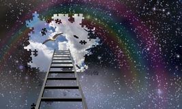 Ladder to the sky and day. Ladder to the sky leads into day Stock Image