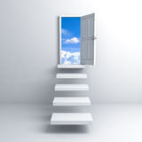 Ladder to the sky door over white background Stock Image