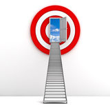 Ladder to the sky door with red target behind Stock Photography