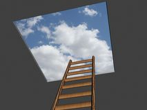 LADDER TO SUCCESS. An aluminum extension ladder is extended into the blue sky with white fluffy clouds. symbolizing ladder to success, the skys the limit Royalty Free Stock Photo