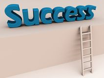 Ladder to success. A 3d ladder leading to the word success at a higher plane, showing the work path and way to success royalty free illustration