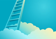 Ladder To Success. Ladder to appearing from clouds, ladder to success concept royalty free illustration