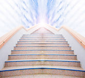 Ladder to Success : stair and beautiful cloud and sky.  Stock Photos