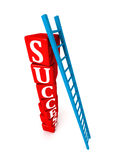 Ladder to top of success blocks stack tower Royalty Free Stock Images