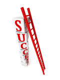 Ladder to top of success blocks stack tower Stock Photography