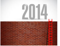 Ladder to year 2014. illustration design. Over a brick wall background Stock Images