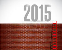 Ladder to year 2015. illustration design. Over a brick wall background Royalty Free Stock Image