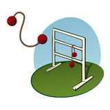 Ladder Toss game. Ladder golf game also called ladder toss with a bola in the air stock illustration