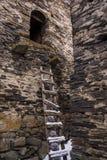 Ladder tot de oude toren van de ushgulidefensie stock afbeeldingen