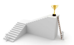 Ladder and trophies. Two different ways by people who get trophies Stock Photos