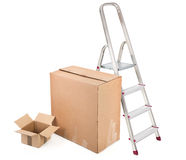 Ladder and two cardboard boxes Stock Photo