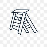 Ladder vector icon isolated on transparent background, linear La royalty free illustration