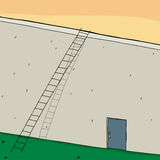 Ladder on Wall with Closed Door. Long ladder on wall with closed door Stock Photo