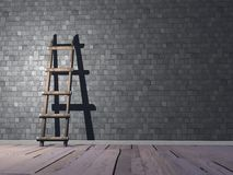 Ladder on wall - 3D render Stock Photo