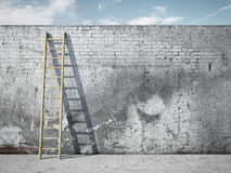 Ladder on wall in front of sky Royalty Free Stock Image