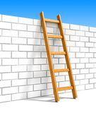 Ladder and white brick wall Stock Photo