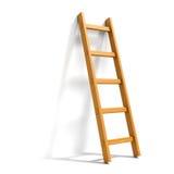 Ladder  on white. Wooden ladder leaned against white wall Stock Photo