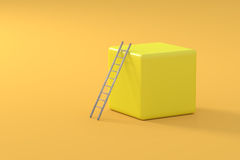 Ladder on yellow cube Royalty Free Stock Photos