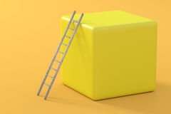 Ladder on yellow cube Royalty Free Stock Images