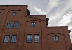 Laddermuur van de baksteen de bouwachtergrond Stock Afbeeldingen