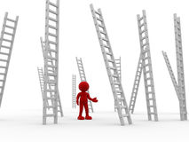 Ladders. 3d people - human character ,  person   and ladders .  3d render Royalty Free Stock Images