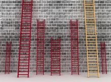 Ladders against brick old wall Royalty Free Stock Photo