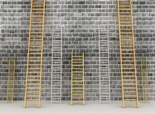 Ladders against brick old wall Royalty Free Stock Photography