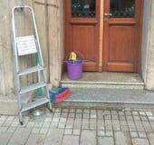 Ladders, bucket and brush stock image