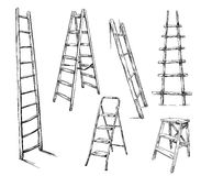 Ladders drawing, vector illustration Stock Image