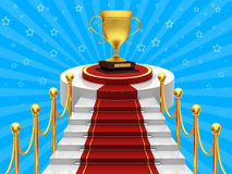 Ladders with gold cup. Ladders with red carpet and gold cup Royalty Free Stock Photography