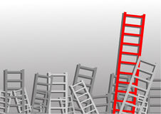 Ladders on gray background. One of them is red Stock Images