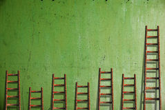 Ladders on green wall Stock Image