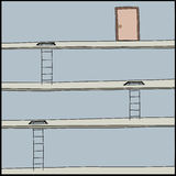 Ladders Lead to Door Stock Photos