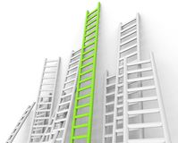 Ladders Obstacle Indicates Overcome Obstacles And Challenge. Ladders Obstacle Showing Conquering Adversity And Challenge Royalty Free Stock Photography