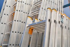 Ladders. For sale, industrial store royalty free stock photos