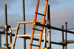 Ladders on scaffolding. Photograph of ladders on scaffolding on construction site royalty free stock photo