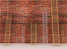 Ladders tegen oude bakstenen muur Royalty-vrije Stock Afbeelding