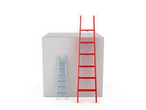 Ladders to Climb Box. Ladders near box to climb, isolated on white background Stock Photos