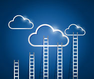 Ladders to a cloud illustration design Stock Image