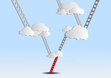 Ladders to cloud on sky Stock Images