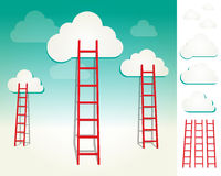 Ladders to the clouds concept set Stock Photo