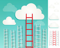 Ladders to the clouds concept set Royalty Free Stock Photo