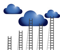Ladders to clouds illustration design Stock Images