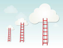 Ladders to the clouds illustration Royalty Free Stock Images