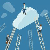 Ladders to the clouds. Vector template. Vector template for banner, presentation. infographics, brochure cover design. Concept for career, success, competition Royalty Free Stock Photos