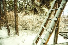 Ladders to the cottage. Ladders to the wooden cottage.Winter stock image