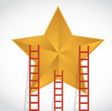 Ladders to a gold star illustration design Royalty Free Stock Images