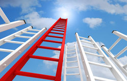 Ladders to the sky concept  3d illustration. Red and white ladders and clouds 3d illustration Stock Photos