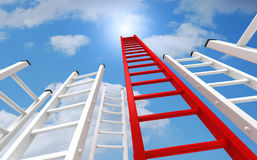 Ladders to the sky concept   3d illustration Royalty Free Stock Photos