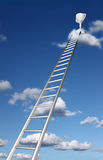 Ladders to a trophy on a cloud Stock Image